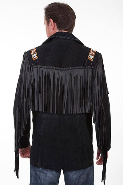 Scully Mens Bone Beaded Fringe Leather Jacket 902-409
