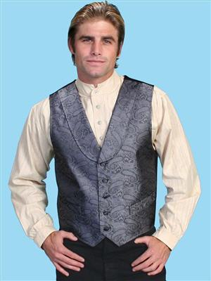 Scully Shawl Collar Paisley Vest - Grey - Men's Old West Vests and Jackets | Spur Western Wear
