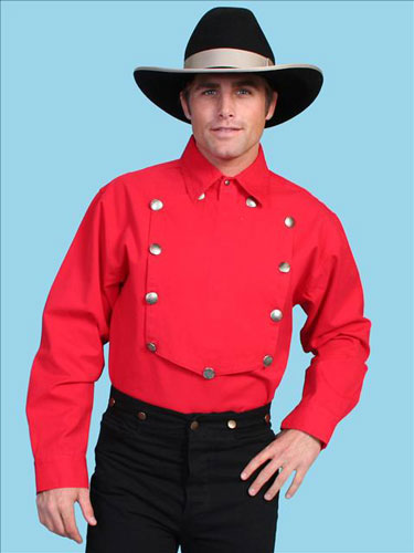 Scully Bib Front Shirt - Red - Men's Old West Shirts | Spur Western Wear