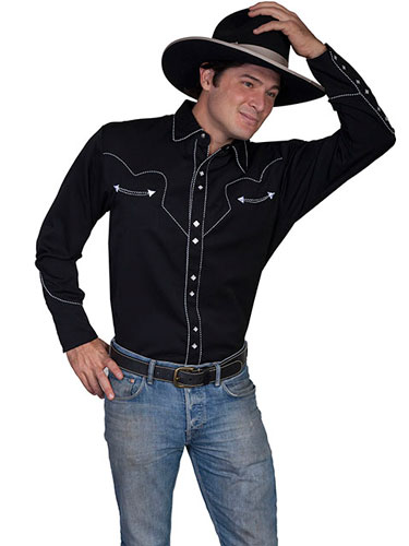 Scully Long Sleeve Snap Front  Western Shirt - Black With White Stitch Piping - Men's Retro Western Shirts | Spur Western Wear