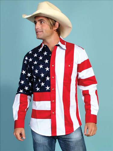 Scully Patriotic Long Sleeve Western Shirt - Men's Western Shirts | Spur Western Wear
