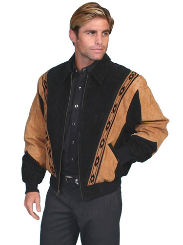Scully Suede Leather Rodeo Jacket – Cafe Brown with Black - Men's Leather Western Vests and Jackets | Spur Western Wear