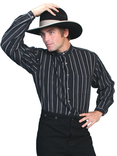 Scully Lawman Striped Shirt - Black - Men's Old West Shirts | Spur Western Wear