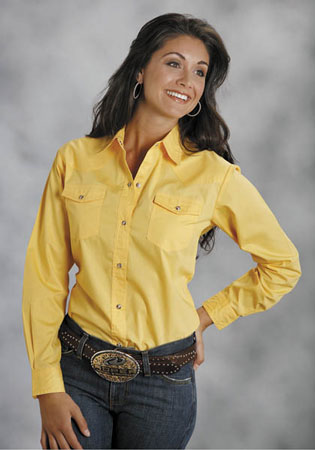 Roper Poplin Long Sleeve Snap Front Western Shirt - Yellow - Ladies' Western Shirts | Spur Western Wear