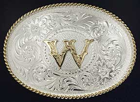 1 VINTAGE GOLD /& SILVER Plated Letter W Initial Belt Buckle s693