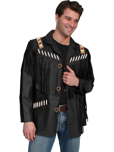 Scully Bone Bead Trim Fringe Leather Coat - Black - Men's Leather Western Vests and Jackets | Spur Western Wear
