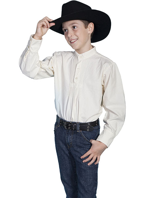 Scully Pullover Gambler Shirt - Ivory - Boys' Old West Shirts | Spur Western Wear