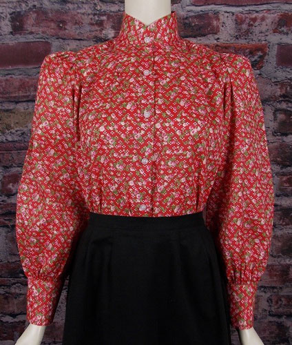 Frontier Classics Victorian Blouse - Red Print - Ladies' Old West Blouses | Spur Western Wear