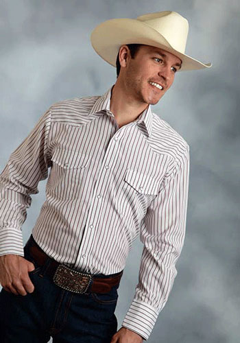 Roper Striped Long Sleeve Snap Front Western Shirt - Red - Men's Western Shirts | Spur Western Wear