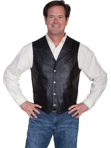 Scully Soft Touch Lambskin Notched Lapel Vest – Black - Men's Leather Western Vests and Jackets | Spur Western Wear
