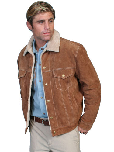 Scully Sherpa Lined Western Leather Jacket - Cafe Brown - Men's Leather Western Vests and Jackets | Spur Western Wear