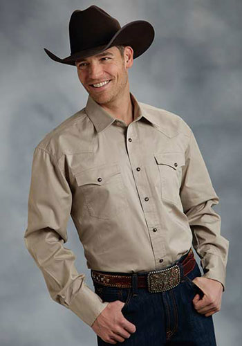 Roper Poplin Long Sleeve Snap Front Western Shirt - Tan - Men's Western Shirts | Spur Western Wear