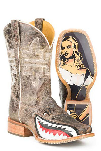Tin Haul Toastin' A Gnarly Shark Western Boot - Tan