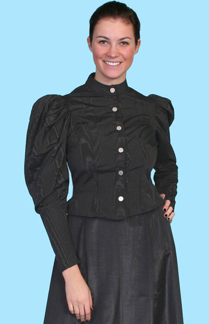 Wah Maker Moire Princess Tie Back Blouse - Black - Ladies' Old West Blouses | Spur Western Wear