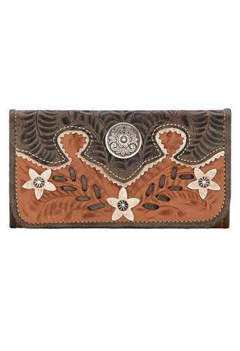 American West Desert Wildflower Tri-fold Wallet - Charcoal & Tan - Ladies' Western Handbags And Wallets | Spur Western Wear