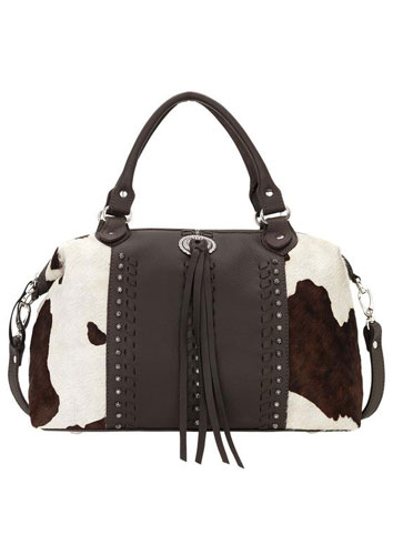 American West Cowtown Hair-On Cowhide Satchel - Chocolate - Ladies' Western Handbags And Wallets | Spur Western Wear