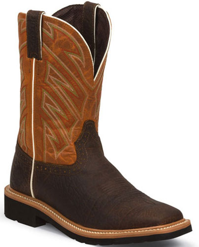 Justin Stampede Electrician Steel Toe Work Boot - Brown