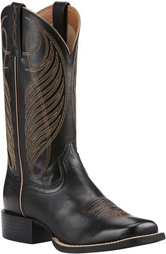 Ariat® Round Up Wide Square Toe Western Boot - Limousin Black - Ladies' Western Boots | Spur Western Wear