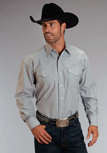 Stetson Striped Long Sleeve Snap Front Western Shirt - Grey - Men's Western Shirts | Spur Western Wear