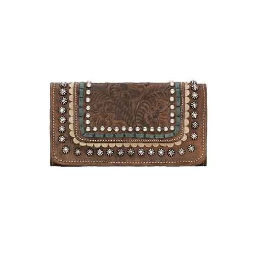 American West Blue Ridge Charcoal Brown Tri-fold Wallet - Ladies' Western Handbags And Wallets | Spur Western Wear