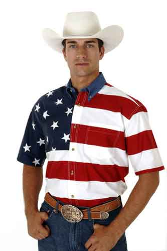 Roper American Flag Short Sleeve Button Front Western Shirt - Men's Western Shirts | Spur Western Wear