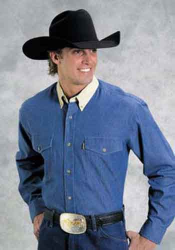 Roper Contrast Collar Long Sleeve Western Shirt - Blue - Tall - Men's Western Shirts | Spur Western Wear