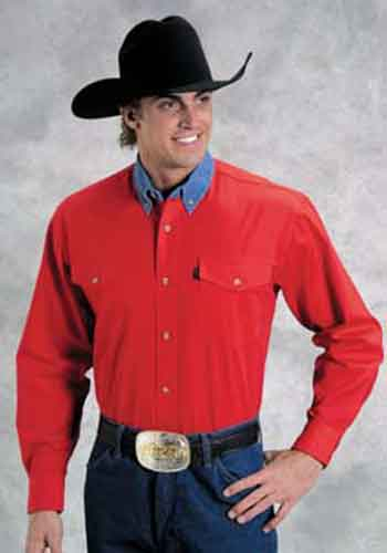 Roper Contrast Collar Long Sleeve Western Shirt - Red - Tall - Men's Western Shirts | Spur Western Wear