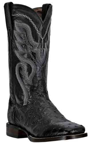 Dan Post Chandler Full Quill Ostrich Western Boot - Black