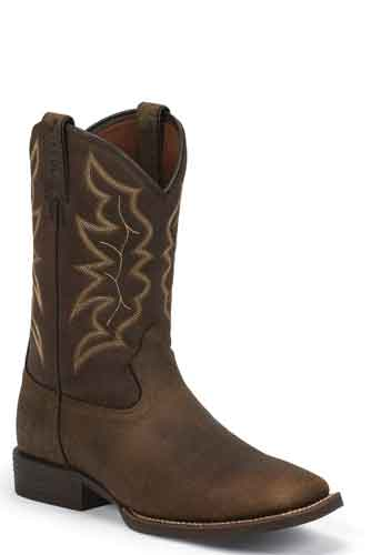 Justin Chet Western Boot - Pebble Brown