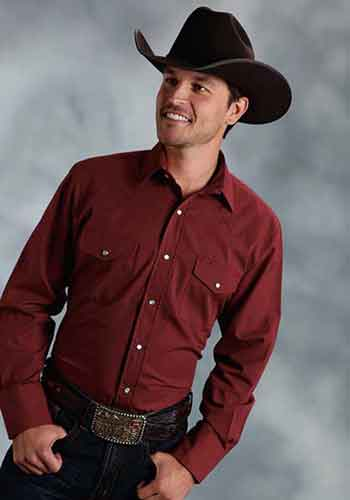 FF Long Sleeve Western Shirt - Wine - Big & Tall - Men's Western Shirts | Spur Western Wear