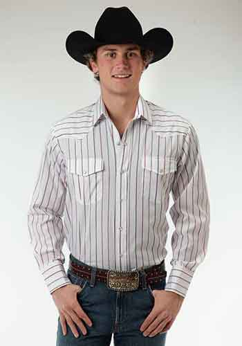 Roper Striped Long Sleeve Snap Front Western Shirt - White - Men's Western Shirts | Spur Western Wear