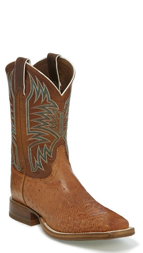 Justin Josiah Smooth Quill Ostrich Western Boot Cognac