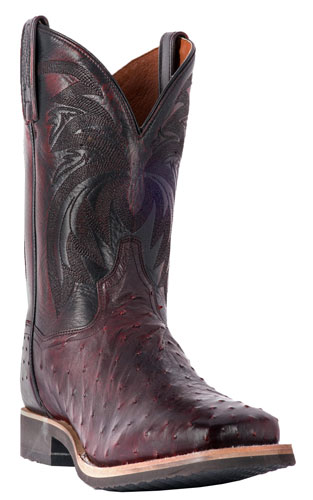 Dan Post Philsgood Full Quill Ostrich Western Boot - Black Cherry