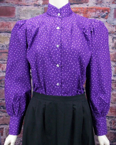 Frontier Classics Prairie Blouse - Purple Print - Ladies' Old West Clothing | Spur Western Wear