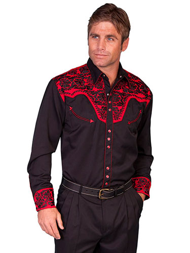 Scully Gunfighter Long Sleeve Snap Front Western Shirt - Black with Tomato Roses - Men's Retro Western Shirts | Spur Western Wear