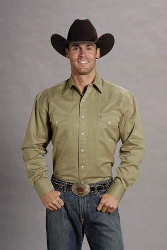 Stetson Twill Long Sleeve Snap Front Western Shirt - Khaki - Men's Western Shirts | Spur Western Wear