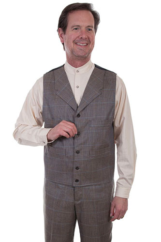 Wah Maker Plaid Vest - Grey - Men's Old West Vests And Jackets | Spur Western Wear