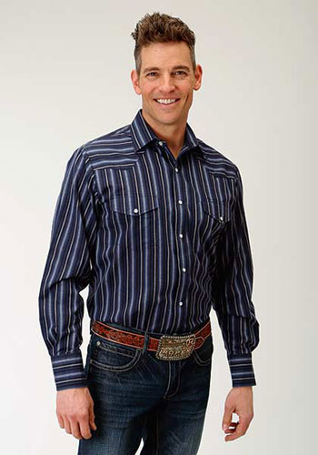 Roper Striped Long Sleeve Snap Front