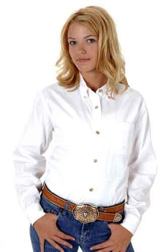 Roper Poplin Long Sleeve Button Front Western Shirt - White - Ladies' Western Shirts | Spur Western Wear