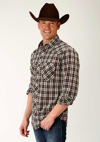 Roper Plaid Long Sleeve Snap Front Western Shirt - Brown & Tan - Men's Western Shirts | Spur Western Wear