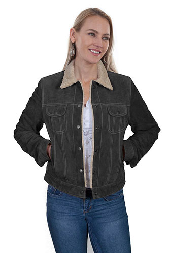Scully Boar Suede Leather Jean Jacket - Black - Ladies Leather Jackets | Spur Western Wear