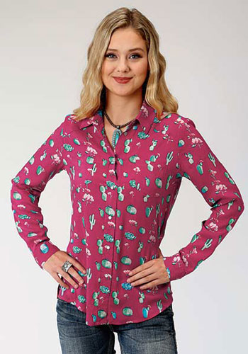 Roper Cactus Print Long Sleeve Snap Front Western Shirt - Red - Ladies' Western Shirts | Spur Western Wear