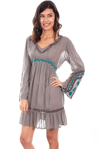 Scully Honey Creek V-Neck Dress - Sage - Ladies' Western Skirts And Dresses | Spur Western Wear