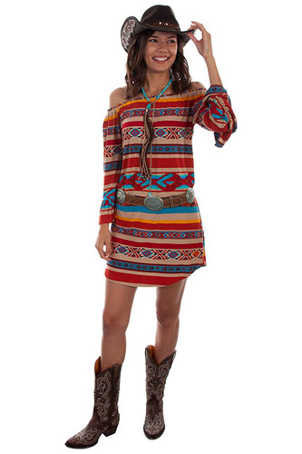 Scully Honey Creek Serape Peasant Dress - Ladies' Western Skirts And Dresses | Spur Western Wear