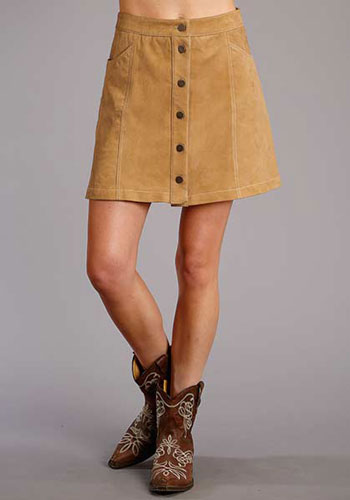Stetson Lamb Suede Leather Skirt - Brown - Ladies' Western Skirts And Dresses | Spur Western Wear