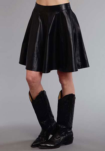 Stetson Lamb Leather Circle Skirt - Black - Ladies' Western Skirts And Dresses | Spur Western Wear