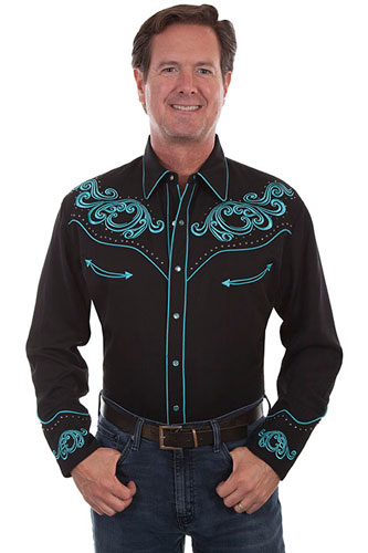 Scully Long Sleeve Snap Front Western Shirt - Black with Turquoise Scroll Design - Men's Retro Western Shirts | Spur Western Wear
