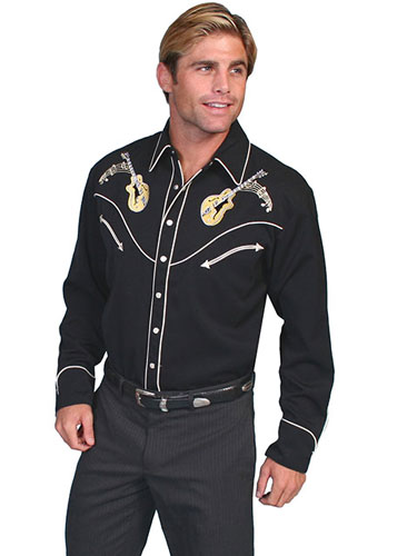 Scully Rock n Roll Long Sleeve Snap Front Western Shirt - Black - Men's Retro Western Shirts | Spur Western Wear