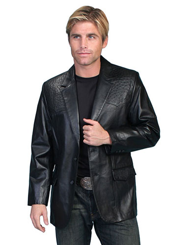 Scully Leather Western Blazer with Ostrich Trim - Black - Men's Leather Western Vests and Jackets | Spur Western Wear