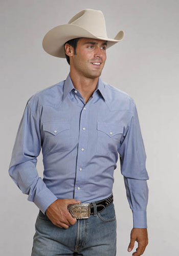 Stetson End On End Long Sleeve Western Shirt - Light Blue - Men's Western Shirts | Spur Western Wear